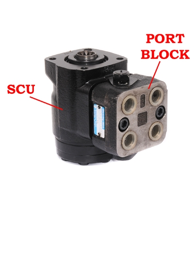 Steering valves with port blocks